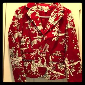 Harold's classic jacket in red and white toile